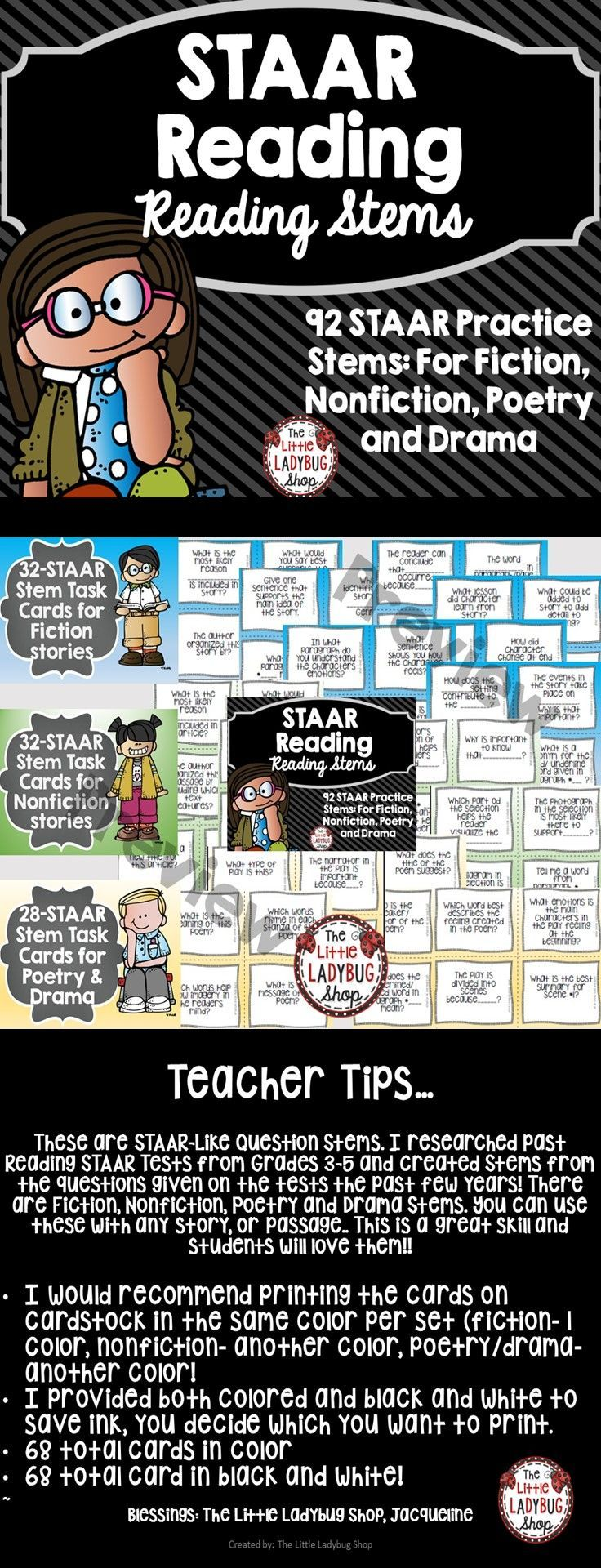 STAAR | STAAR | STAAR Reading| STAAR Reading  STAAR Reading STEM 92 Task Card {Grades 3-5- Fiction, Nonfiction, Poetry, and Drama}  ★Teacher Tips★ These are STAAR-Like Question Stems. I researched past Reading STAAR Tests from Grades 3-5 and created Stems from the questions given on the tests the past few years! There are Fiction, Nonfiction, Poetry and Drama Stems. You can use these with any story, or passage.. This is a great skill and students will love them!!