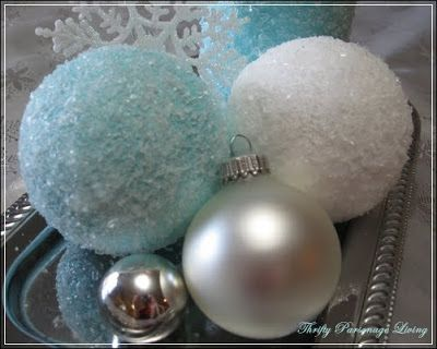 Using epsom salt, paint, and clear glitter, you can make any color of snow ornaments that you would like!