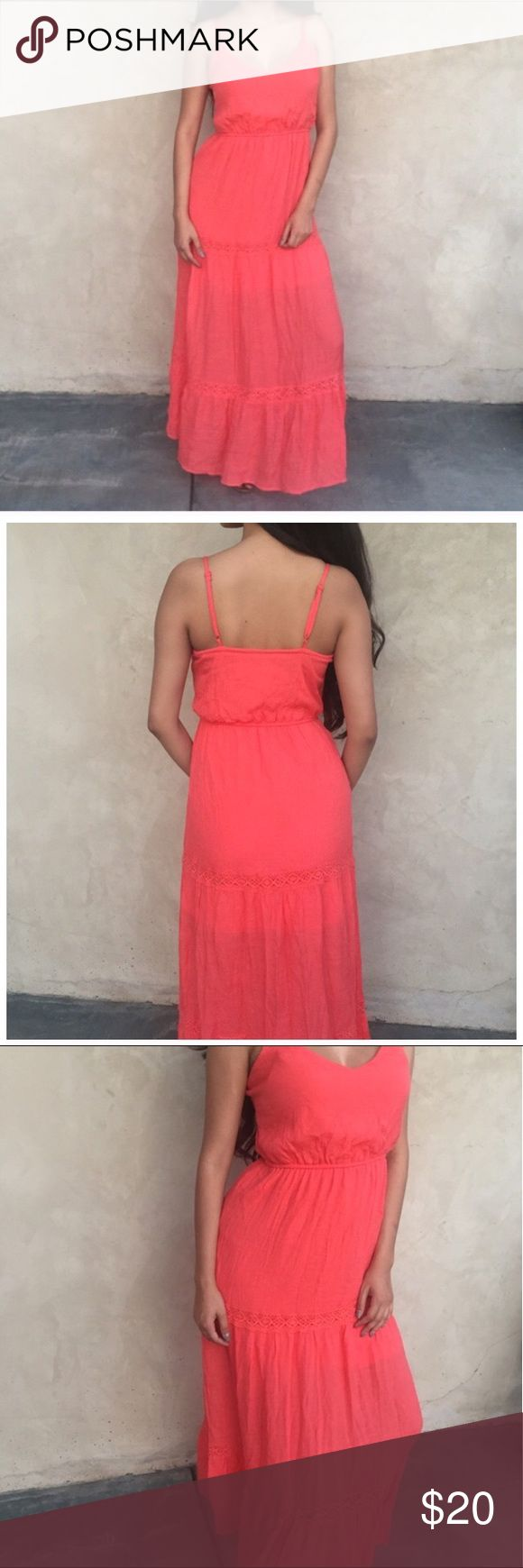 🆕 Coral Maxi Dress Coral Maxi Dress - V neck , Crochet details and adjustable straps. New with tag. HeartSoul Dresses Maxi
