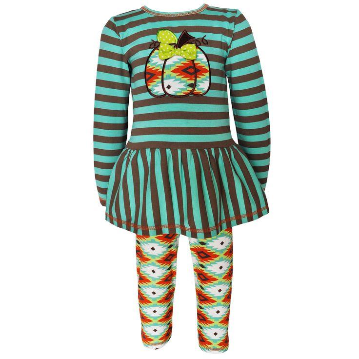 Ann Loren AnnLoren Girls' Boutique Green Aztec Pumpkin Patch Outfit