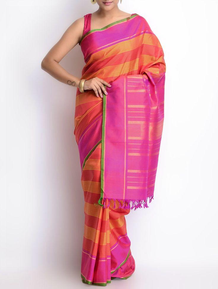 Buy Fuschia Golden Silk Zari Border Handwoven Saree Sarees Woven Online at Jaypore.com