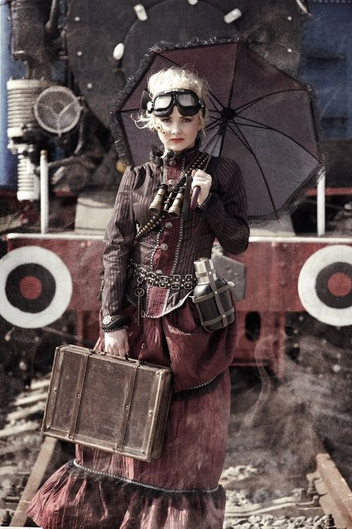 Steampunk - pants instead of skirt and I like it. The color tones and textures are great.