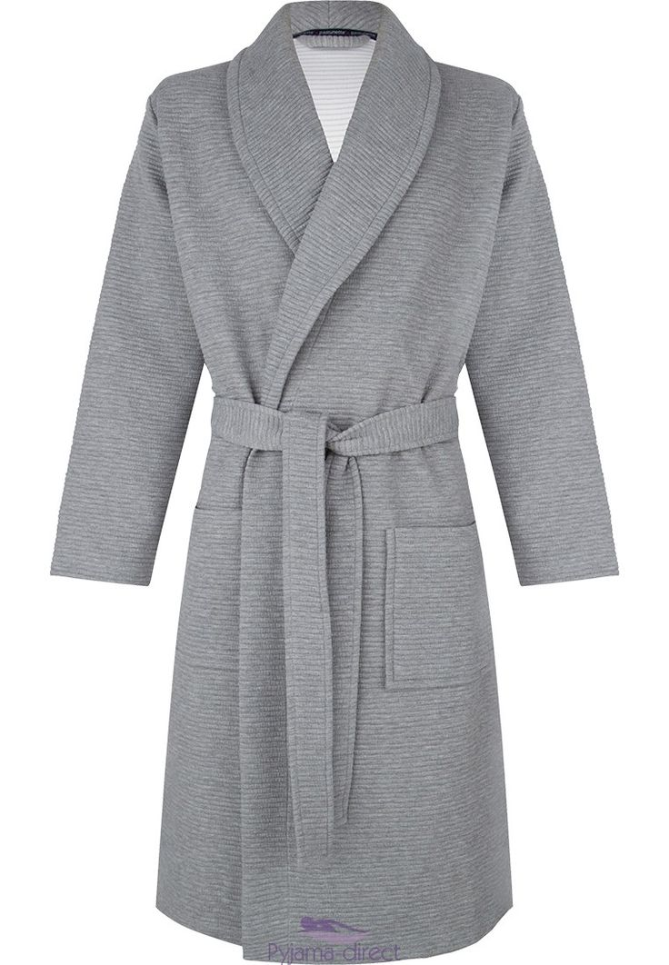 Be comfortable & relaxed, morning or night in this grey soft morninggown with shawlcollar and belt