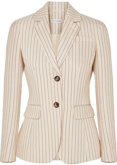 Pinstripe blazer in cream | #Ad
