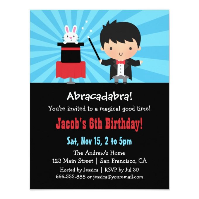 1390 best kids birthday invitations images on pinterest birthday magician kids magic birthday party invitations stopboris Choice Image