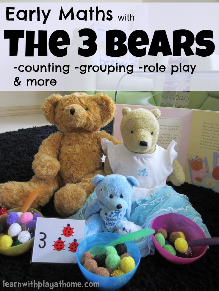"Early Maths with The 3 Bears - Fun Counting & Grouping Activity. This activity will help children to model basic numbers and use counting & grouping strategies to demonstrate & verbalise relationships between basic numbers. In this case, the numbers 1-3 ("",)"