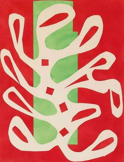 HENRI MATISSE Algue blanche sur fond rouge et vert (White Algae on Red and Green Background), 1947  Paper cutouts painted in gouache glued on paper 20 7/10 × 15 9/10 in 52.5 × 40.5 cm © Succession Henri Matisse / Artists Rights Society (ARS), New York / Photo: Robert Bayer, Basel Fondation Beyeler