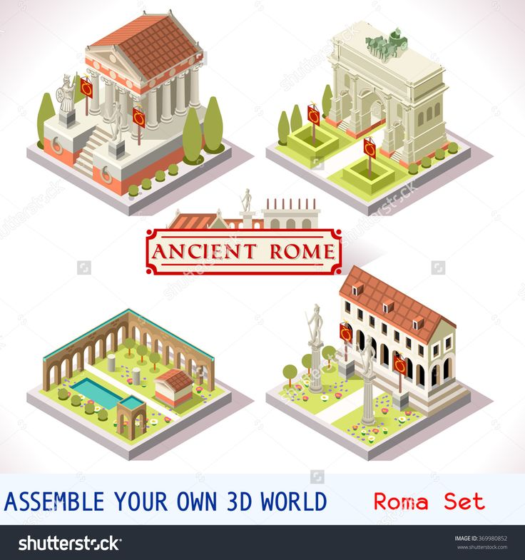 Isometric buildings gallery Caesar's IMPERIAL ANCIENT ROME #gamedev #gameinsight. Stock vector gallery
