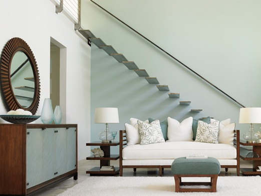 Tommy Bahama Ocean Club furniture. Absolutely love those stairs too. Great blend between modern and coastal interior design styles. Shop for this collection at Kalin Home Furnishings in Ormond Beach, FL.