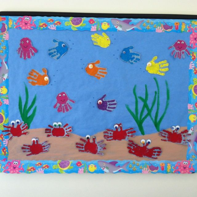 bulletin board with balloon display for reading area | Under the Sea bulletin board