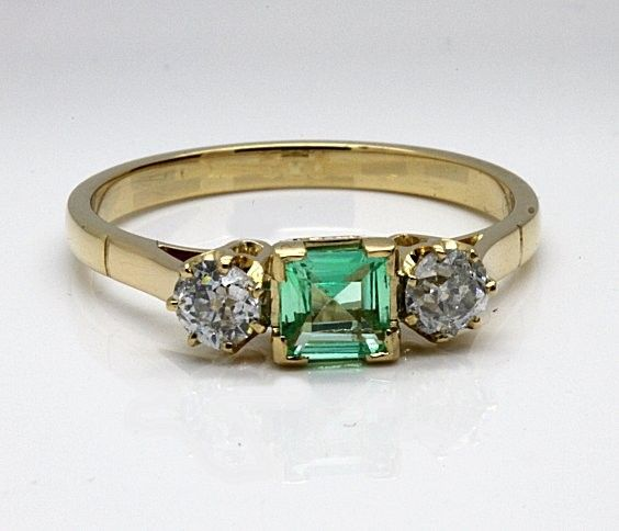 Emerald and Diamond Engagement ring all handmade as original.