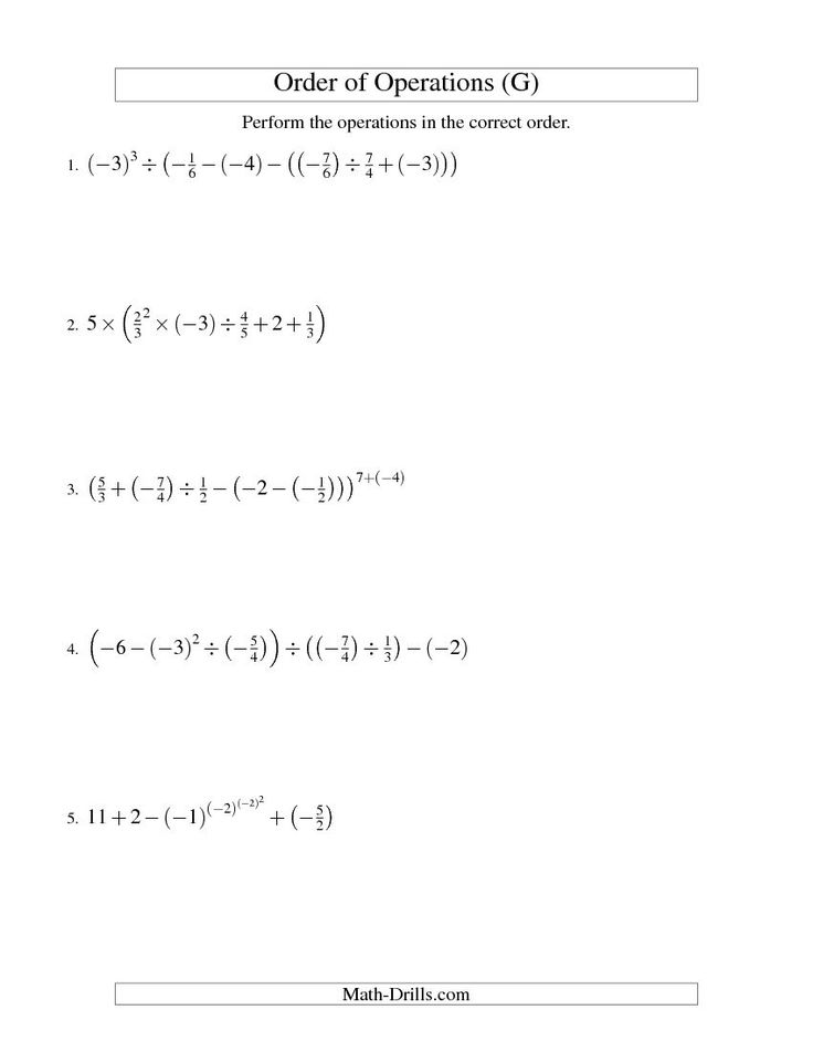 Best 25+ Negative fractions ideas on Pinterest Rational numbers - order of operations worksheet