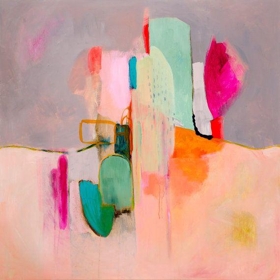 Este gran Resumen pintura grabado es una reproducción del Poster de mi pintura abstracta original de Awakenings #4. Esta pintura presenta sentimientos de calma y serenidad en su entorno con rosa en cada sombra, rubí profundo y fucsia al melón caliente, coral y el rubor rosa pálido!