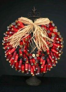 wreath made with shotgun shells. For the man cave  Dirty Santa gift idea?