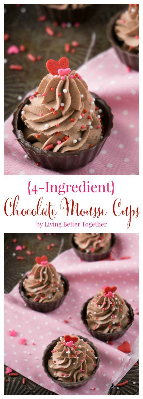 These 4-Ingredient Chocolate Mousse Cups are about as easy as it gets! They're ready in 10 minutes and there's no baking required making them a perfect last minute dessert!