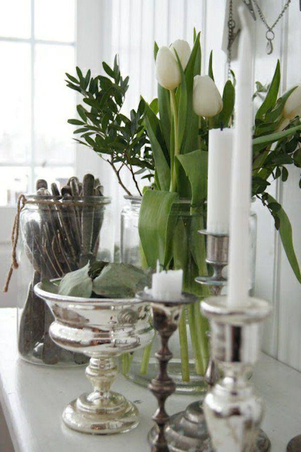 deko ideen mit tulpen und kerzen