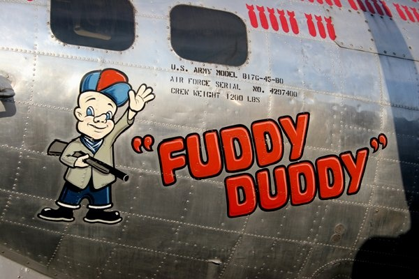 """Close up of the nose art on the B17G Flying Fortress bomber """"Fuddy Duddy"""", Tail #297400E."""