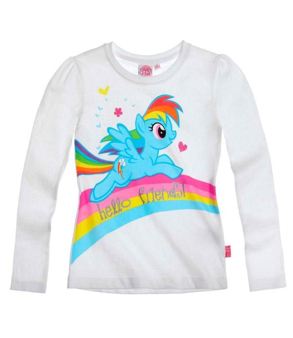 T-shirt My little Poney fille enfant manches longues blanc Officiel par UnCadeauUnSourire.com