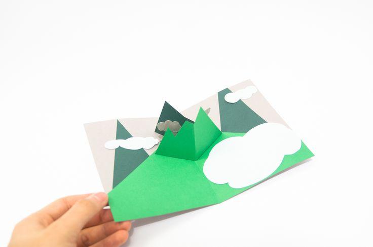 mountains pop up card1