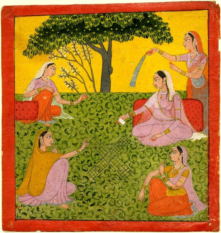 Four women playing a game of chaupar in a garden. Gouache painting on paper, Pahari School, Basohli Style, Panjab Hills, ca. 1800