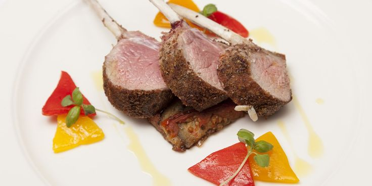 Andrew MacKenzie's vibrant dish pairs seaweed-crusted rack of lamb with confit peppers and aubergine byaldi