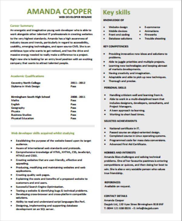 Front End Developer Resume Job Resume Examples Sales Resume Examples Resume