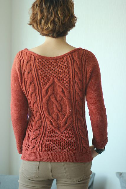 Free Pattern: Lempster by Norah Gaughan The back of this sweater is even prettier than the front!
