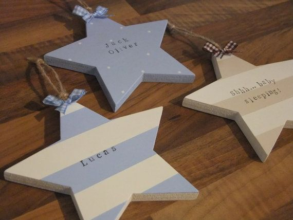 Handmade Personalised Chunky Wooden Star Plaque/Sign/Wall Hanging for New Baby Girl or Boy - Baptism/Christening Gift on Etsy, £10.00