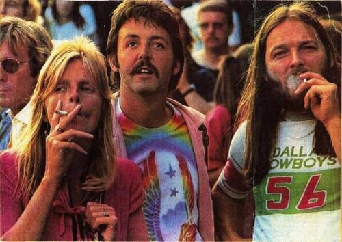 "a-clown-among-clowns:  "" crivil:  "" Linda McCartney, Paul McCartney and Pink Floyd's David Gilmour at a Led Zeppelin concert, in the 70's.  ""  Probably the only time I'm going to reblog something with a Beatle in it.  """