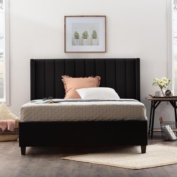 King Upholstered Bed Black Frame, Black Upholstered Platform Bed Queen