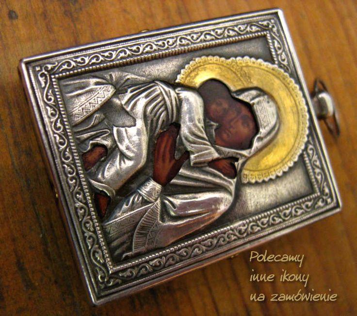 Srebrna IKONA Ag. 0,925 Silver Madonna Miłująca + eleuty Polskie rękodzieło