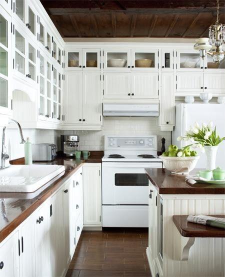 brown & whiteWhite Kitchen Cabinets, White Kitchens Cabinets, Subway Tile, Butcher Block Countertops, Kitchen Counters, Kitchens Counter, White Appliances, Wood Countertops, White Cabinets