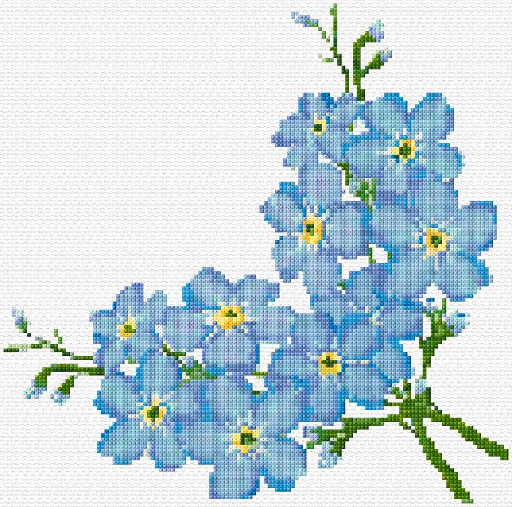 Cross Stitch | Forget-Me-Not xstitch Chart | Design
