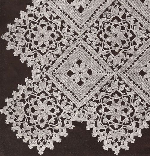Vntg Crochet MOTIF BLOCK Lace Flower Bedspread Pattern