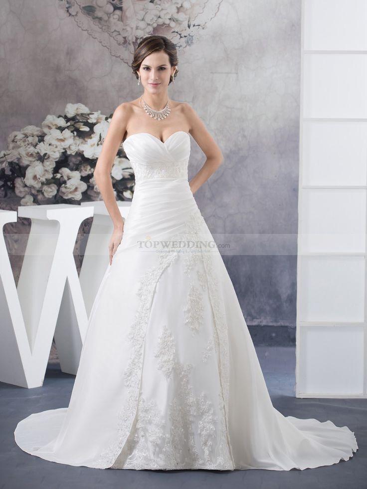 Marciane - corte princesa escote corazón vestido de novia de tafetán con apliques
