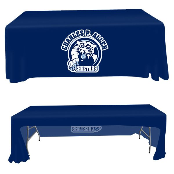 8' open back table throw cover is perfect for trade shows,outdoor events,exhibitions and general use. These can be custom printed which means you can brand them with any design. The material starts as white polyester and we digitally print your desired logo on the cloth. This includes all four sides for the same price. These are machine washable. Designed for a standard 8' table.