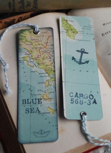Weiteres - Shabby 2 Lesezeichen alte Landkarten - ein Designerstück von Lunas-VintageART bei DaWanda