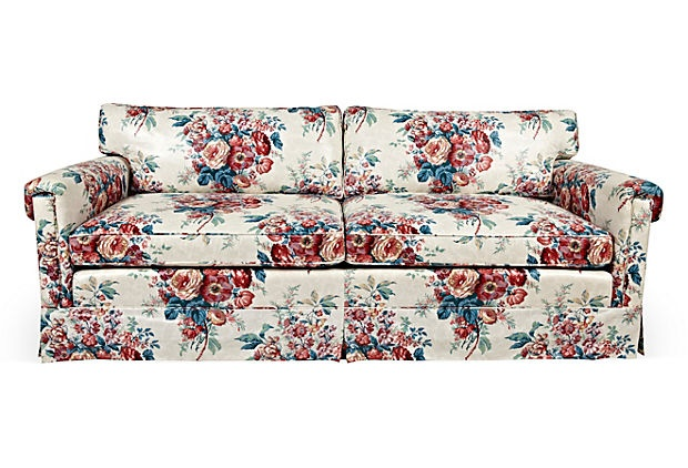 1970s mark hampton chintz sofa on for Chintz couch