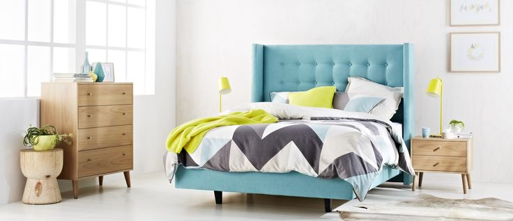 The Hamilton's eye-catching button-tufted bedhead with wing detail creates a warm and inviting look for any sleeping zone. Complete with the Flinders base, this upholstered bed will make a statement in any bedroom.