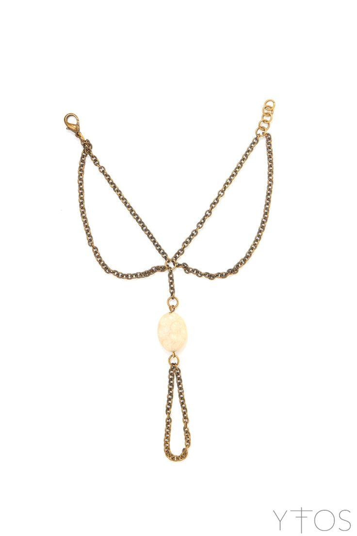 Beige Stone Handchain Bracelet
