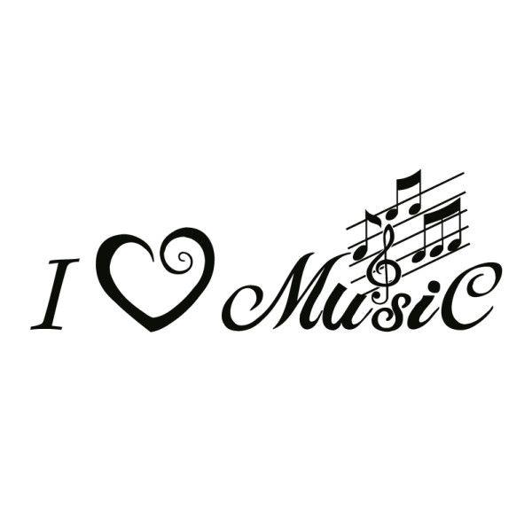 wall decal / tattoo / silhouette: i love music