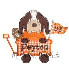 Hound Dog With Football In Wagon Appliqué Shirt or Onesie