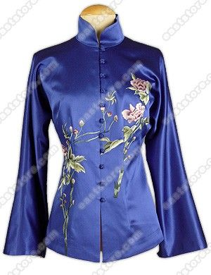 Feminine Floral Embroidered Silk Jacket : EastStore.com