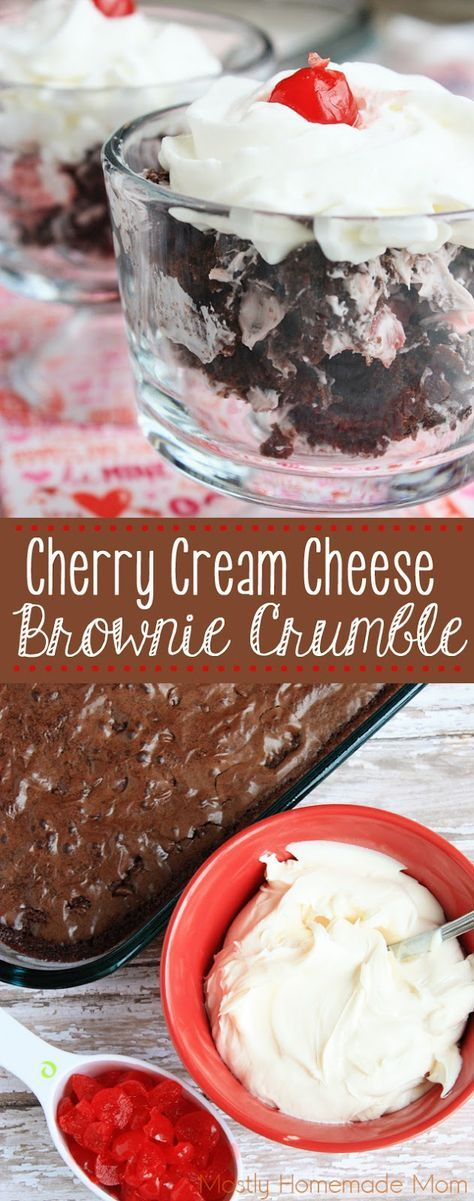Cherry Cream Cheese Brownie Crumble - Crumbled, chewy brownies topped with cream cheese frosting, maraschino cherries, and whipped cream. The perfect Valentine's Day dessert recipe for the family! #ad