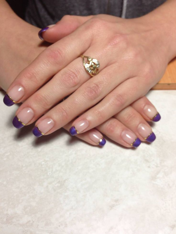 Purple and gold i did on my friends nails