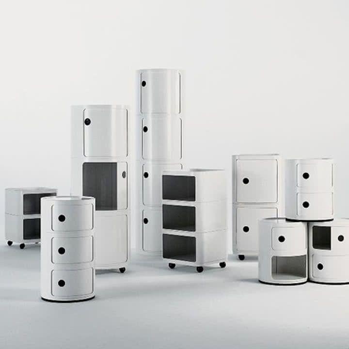 Die Componibili-Baukastenelemente wurden entwickelt, um verschiedenste Verwendungsanforderungen zu erfüllen. Die klassischen Container von italienischen Hersteller Kartell können in allen Bereichen des Hauses Platz finden.