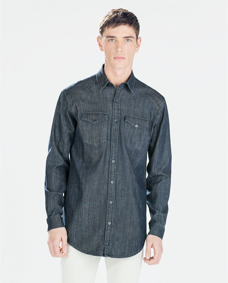 Image 1 of LONG DENIM SHIRT from Zara