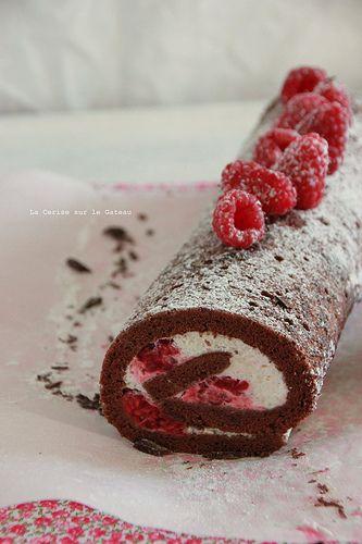 Recette gateau roule chocolat framboise