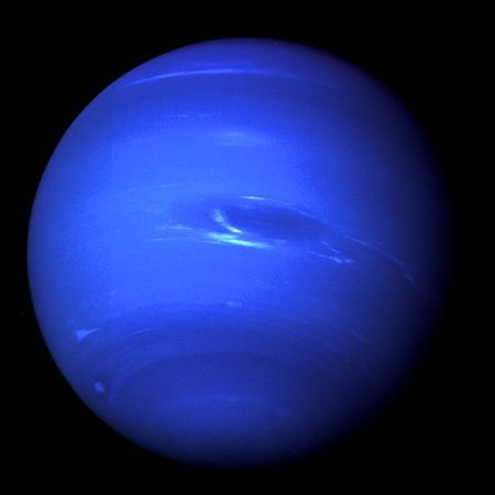 Neptune is the 8th and last planet of the solar system, as Pluto was categorized as a dwarf-planet a few years ago. Dark, cold, and whipped by supersonic winds, Neptune is the furthest away from the Sun of the hydrogen and helium gas giants in our Solar System. No probe has ever been sent there, and its thick atmosphere acts as a dark veil to the surface below.