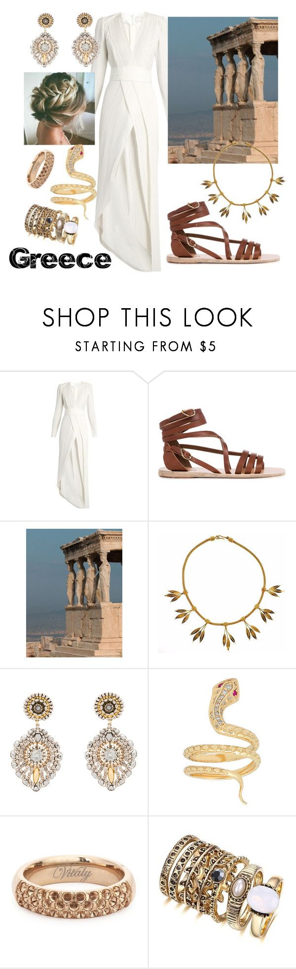 """""""Greece"""" by alena95 ❤ liked on Polyvore featuring Galvan, Ancient Greek Sandals, Lalaounis, Miguel Ases and Vitaly"""